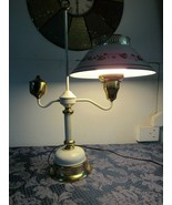 """Vintage 25"""" Mid Century White and Gold Tole Student Desk Lamp Milk Glass... - $48.59"""