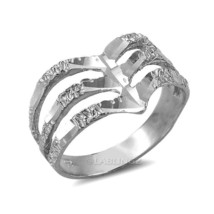 Sterling Silver Triple Chevron Ladies DC Nugget Ring - £19.00 GBP
