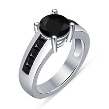 Black Diamond Womens Wedding Engagement Ring 925 Sterling Real Solid Silver - $64.99