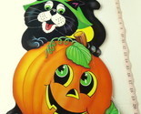 Party Time Vintage Jack O Lantern Pumpkin Black Cat Poster 1985 USA Decoration