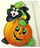 Party Time Vintage Jack O Lantern Pumpkin Black Cat Poster 1985 USA Deco... - £9.28 GBP