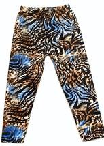 LEGGINGS: Super Soft One Size 2-14 Full Length Zebra Blue Multi - $10.54