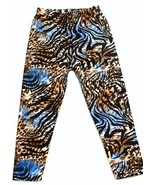LEGGINGS: Super Soft One Size 2-14 Full Length Zebra Blue Multi - $10.54