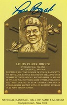 Lou Brock Signed Autographed Hall of Fame Plaque Postcard - $29.99