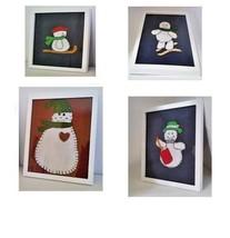 Primitive Snowman Wall Art Framed Hanging set of 4 in glass handmade Chr... - $26.10