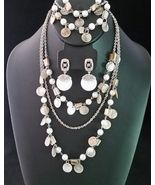 COLDWATER CREEK Jewelry Set-Mother of Pearl and Faux Pearls NECKLACE BRA... - $49.00