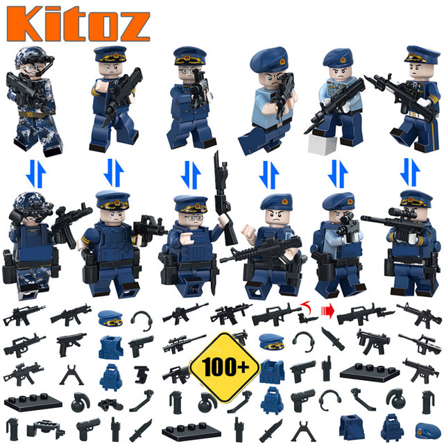Used, 6pcs SWAT Blue Navy air force Military minifigure building block toys lego for sale  USA