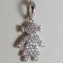 18K White Gold Girl Pendant, Baby, Length 0.98 Inches, Zirconia, Made In Italy - $218.50