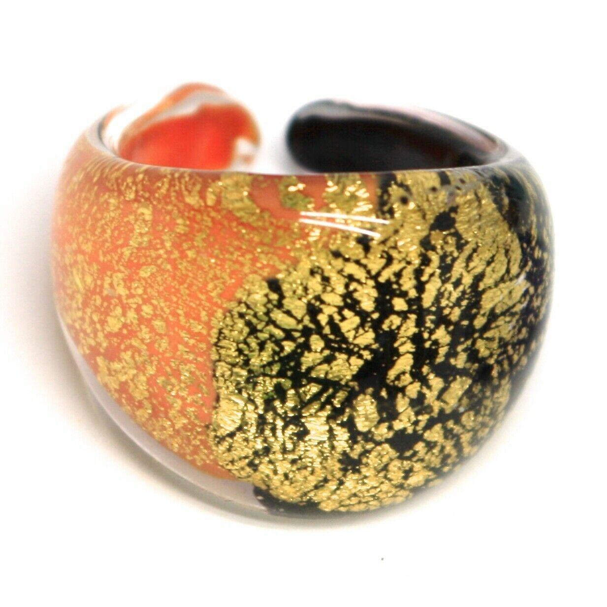 Ring Antique Murrina, Murano Glass, Black Orange, Leaf Golden, Convex