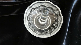 Mosser Glass Crystal Clear Sawtooth Pattern Ring Holder Tree 107C - $16.00
