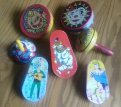 7 VINTAGE MID-CENTURY TIN METAL NEW YEAR'S EVE NOISEMAKERS - $9.89