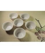 6 Pottery Barn Ceramic Souffle Cup Glass Ribbed Cupcake Ramekin Baking M... - $26.73