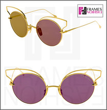 DITA BELIEVER Round 18K Gold Plated Pink Purple Flash Mirrored 23008 Sunglasses - $266.41
