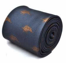 Frederick Thomas Designer Mens Tie - Dark Navy Blue - Embroidered Dinosa... - $15.89