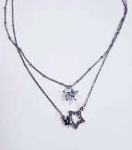 "Double Strand Silver Tone Sparkle Stars Fashion Necklace 18"" - $10.04"