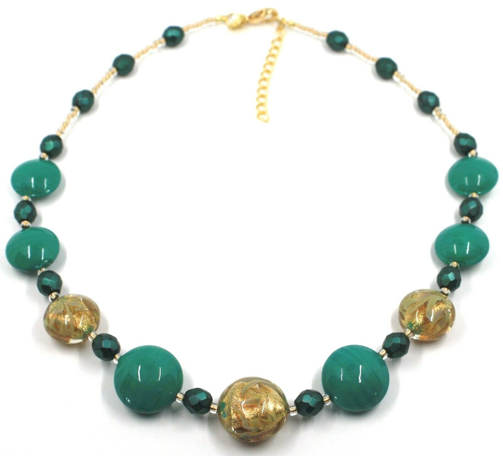 """NECKLACE GREEN YELLOW MURANO GLASS DISC & GOLD LEAF, MADE IN ITALY, 50cm, 20"""""""