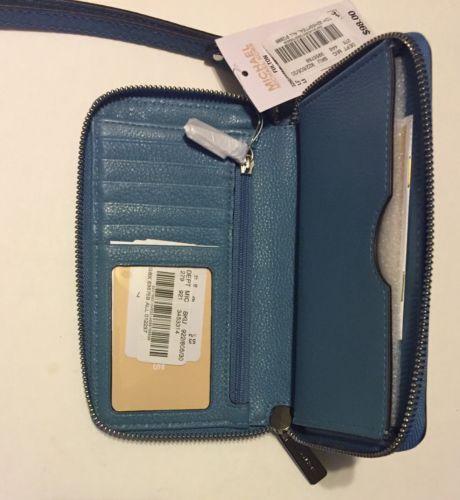 fffb7ff07378 Michael Kors Multifunction Wallet Clutch Phone Case Lg Fulton NWT Sky Baby  Blue