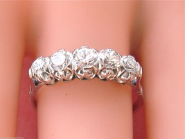 VINTAGE MID-CENTURY .80ctw BRILLIANT DIAMOND CLASSIC 5-STONE PLATINUM RI... - $1,385.01