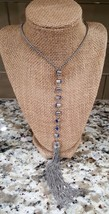 Simply Vera Vera Wang Long Silver Plated Blue Crystals Tassel Necklace  - $13.50