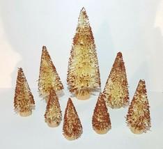 Set 8 Ivory White Orange Glittery Flocked Miniature Sisal Bottle Brush T... - $17.72