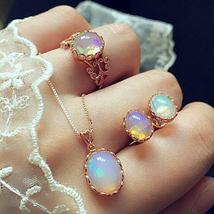 Women Stainless Steel Moonstone Ring+Earrings+Necklace Chain Jewelry US