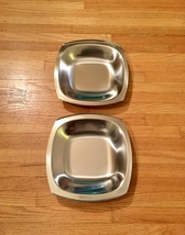 Set of 2 60s MCM Stelton of Denmark stainless steel square low profile bowls image 1