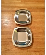 Set of 2 60s MCM Stelton of Denmark stainless steel square low profile b... - $35.00