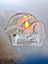 Partylite clear/Frosted tea light candle holder Nautical sailboat seagul... - $30.11