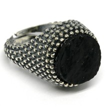 MEN'S RING 925 SILVER, BURNISHED AND FLECKED, ONYX ROUGH, SIZE ADJUSTABLE image 1