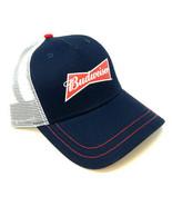 BUDWEISER SCRIPT LOGO MESH TRUCKER SNAPBACK HAT CAP ADJUSTABLE CURVED BI... - $17.05