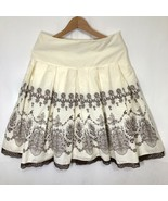Flared Skirt Womens Size 6 Floral and Lace Trim Embellished Boho Hippie Summer - $24.74