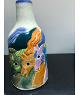 Studio Pottery Horses Colorful Art Vase Signed Painted Derby Etched 3D  - $36.86