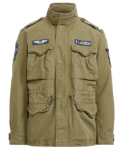 New Polo RALPH LAUREN Combat/Military/Field/Patches Cotton Twill Jacket Green S - $271.14