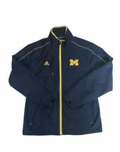 Adidas Michigan Blue Yellow Zip Up Jacket UM University Size Small - $29.69