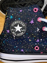 Converse Chuck Taylor All Star High Top Chucks Black and Pink Stars Silver sz 5 - $37.62