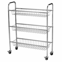 Rolling Storage Cart 3 Tier Storage Baskets Steel Framed Chrome Finish B... - $63.63