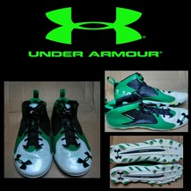 UNDER ARMOUR CLUTCHFIT MEN'S CLEATS SHOES Sz 12 GREEN BLACK WHITE - $26.65