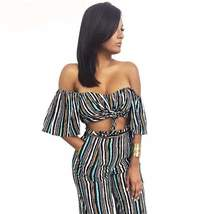Cute Multicolor Striped Women Two Piece Set Jumpsuit - $31.98