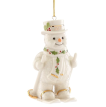 Lenox 2017 Snowman Figurine Ornament Annual Fresh Powder Happy Holly Ski... - $72.27