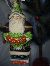 Vaillancourt Folk Art Red Swag Santa Ornament made in Poland  image 1