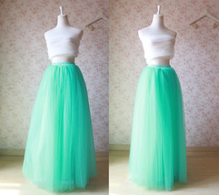Women's Maxi Tulle Skirt Mint Green High Waisted Tutu Skirt Wedding Party Outfit