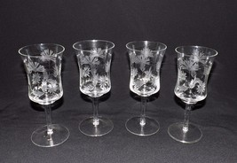 BEAUTIFUL SET OF 4 VINTAGE  CRYSTAL ETCHED LONG STEMS FLORAL PATTERN  - $29.99