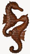WorldBazzar Hand Carved Mahogany Wooden Seahorses Wall Art Hanging Tropical Naut - $27.66