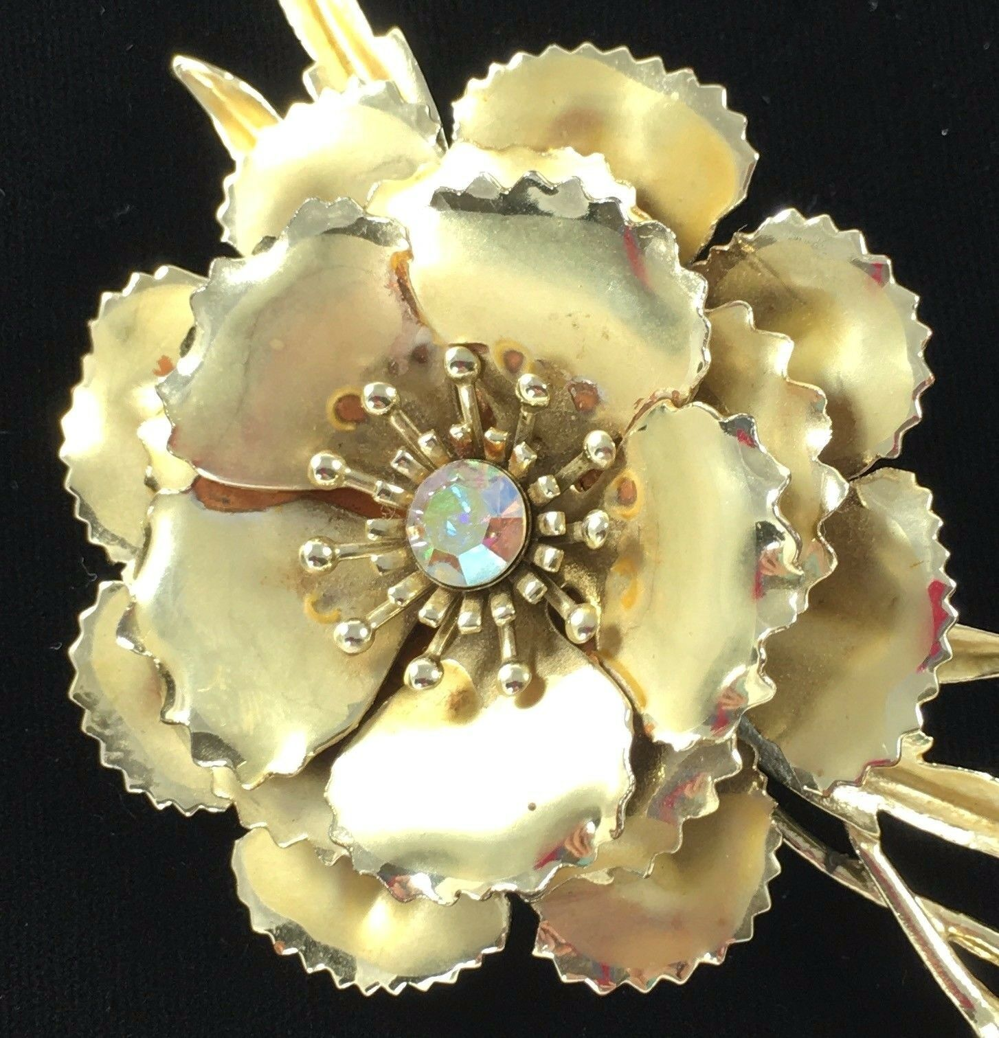 Statement Coro Pin Brooch Signed Flower AB Gold Toned Wedding Bridal Gift Vtg image 4