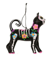 GALLERIE II DAY OF THE DEAD PAPER MACHE CAT HALLOWEEN CHRISTMAS ORNAMENT... - $12.88