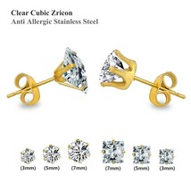 New Style Stainless Steel Stud Earrings Set Six-piec CZ Jewelry Gold For... - $8.91