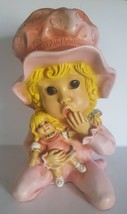 Vintage Universal Statuary Pink Sleepy Time Girl & Doll #296 U. Kendrick... - $47.13