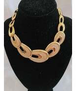 Vintage Signed Napier Gold Tone Cream Enamel Legends Necklace Chunky Ova... - $119.99