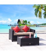 2 PC Rattan Loveseat Glass Table Wicker Furniture Garden Sofa Sectional ... - $229.99