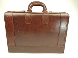 Vintage Large Leather Briefcase Burgundy Maroon Combo Lock 18x13x7 - $75.00